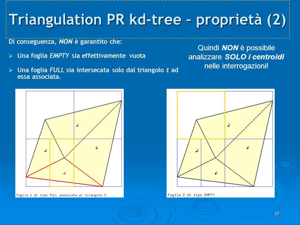 22 Triangulation PR kd-tree – proprietà (2) Di conseguenza, NON è garantito che: Una foglia EMPTY sia effettivamente vuota Una foglia FULL sia interse