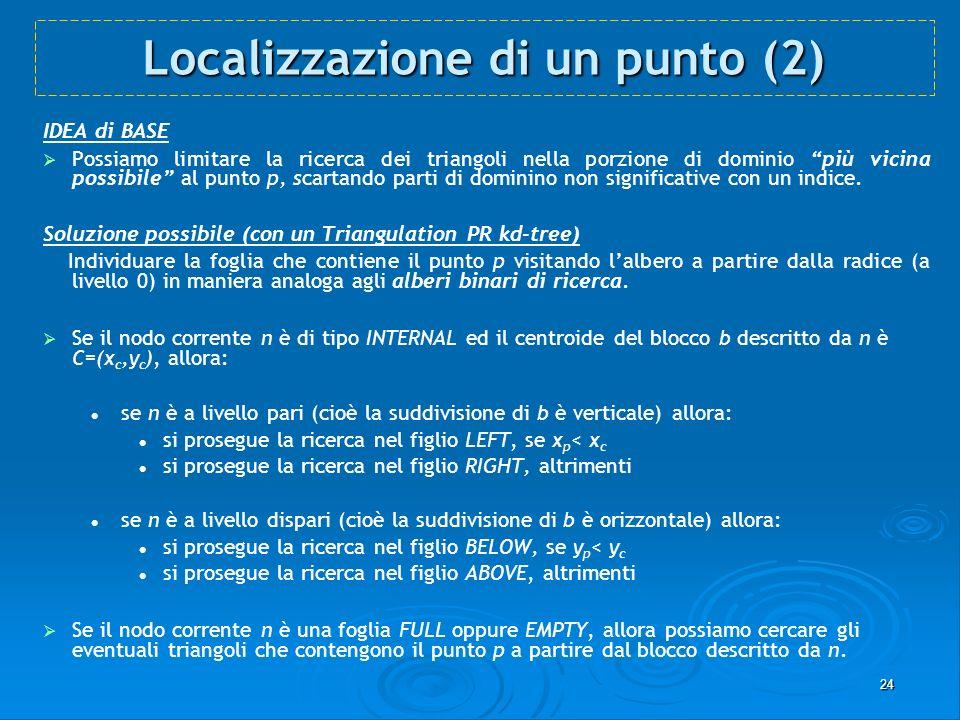 24 Localizzazione di un punto (2) IDEA di BASE Possiamo limitare la ricerca dei triangoli nella porzione di dominio più vicina possibile al punto p, s