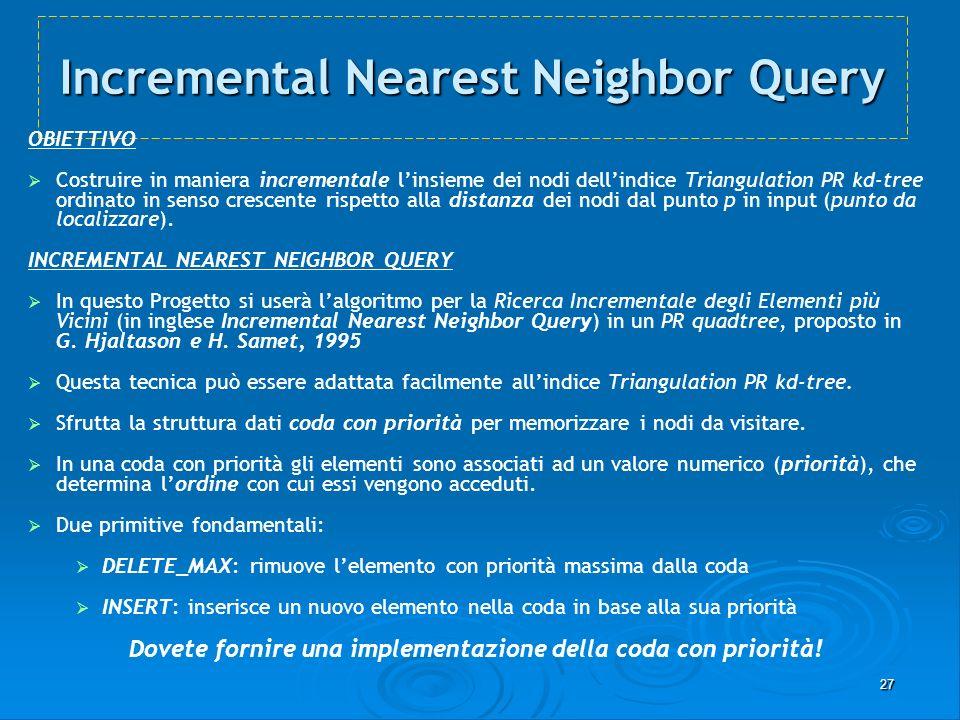 27 Incremental Nearest Neighbor Query OBIETTIVO Costruire in maniera incrementale linsieme dei nodi dellindice Triangulation PR kd-tree ordinato in se