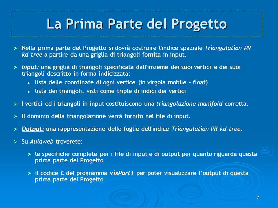 7 La Prima Parte del Progetto Nella prima parte del Progetto si dovrà costruire l'indice spaziale Triangulation PR kd-tree a partire da una griglia di