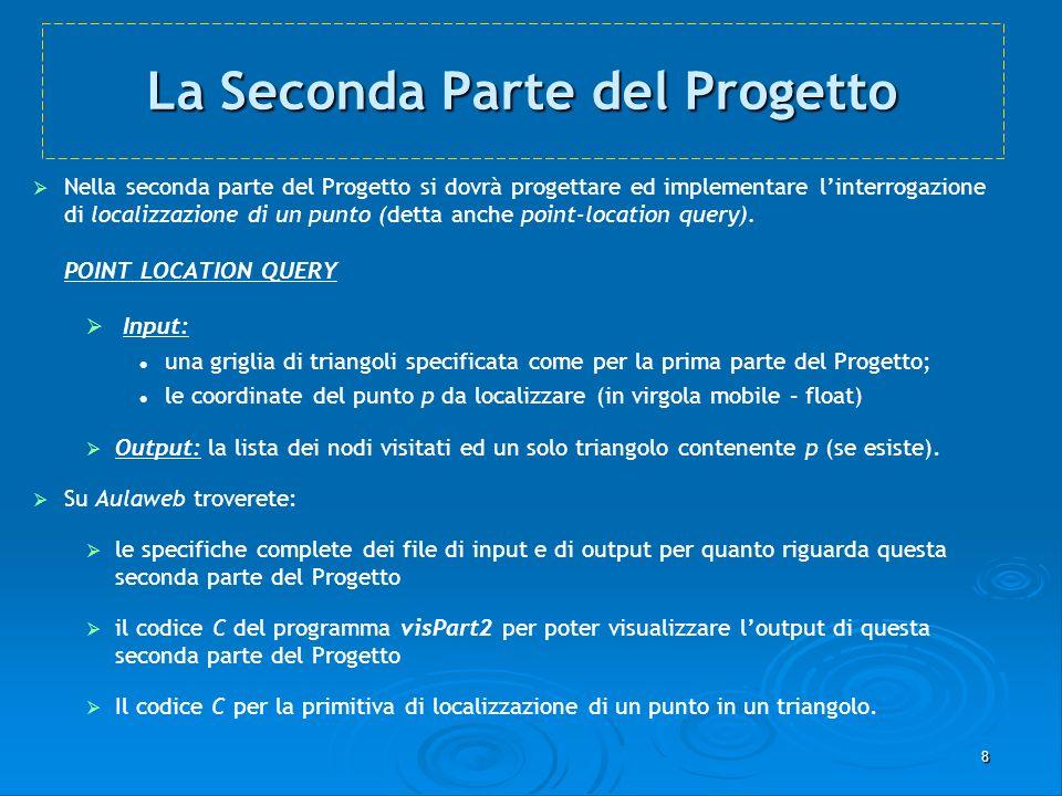 8 La Seconda Parte del Progetto Nella seconda parte del Progetto si dovrà progettare ed implementare linterrogazione di localizzazione di un punto (de
