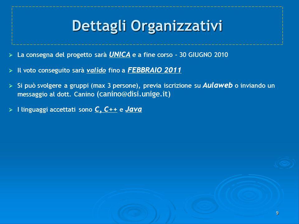 9 Dettagli Organizzativi La consegna del progetto sarà UNICA e a fine corso – 30 GIUGNO 2010 Il voto conseguito sarà valido fino a FEBBRAIO 2011 Si pu