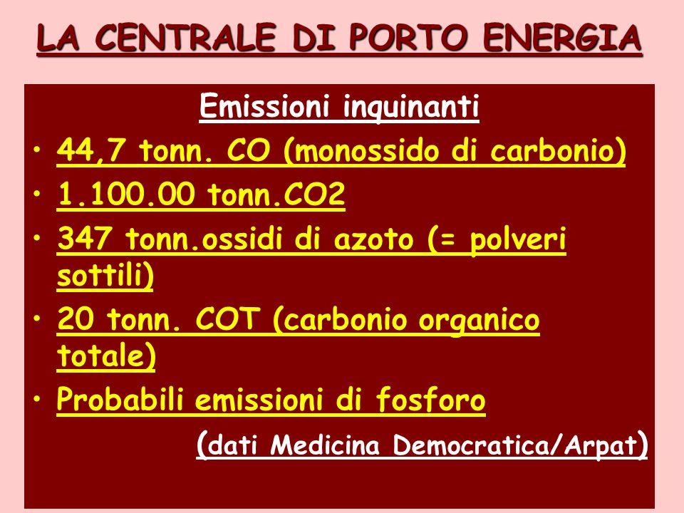 LA CENTRALE DI PORTO ENERGIA Emissioni inquinanti 44,7 tonn.