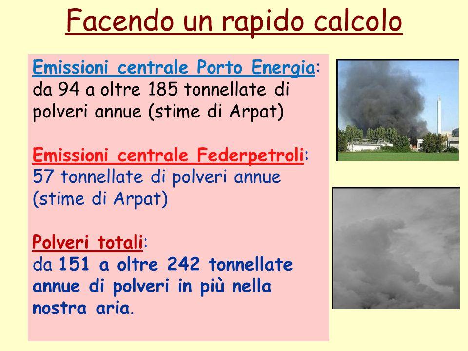 Facendo un rapido calcolo Emissioni centrale Porto Energia: da 94 a oltre 185 tonnellate di polveri annue (stime di Arpat) Emissioni centrale Federpetroli: 57 tonnellate di polveri annue (stime di Arpat) Polveri totali: da 151 a oltre 242 tonnellate annue di polveri in più nella nostra aria.