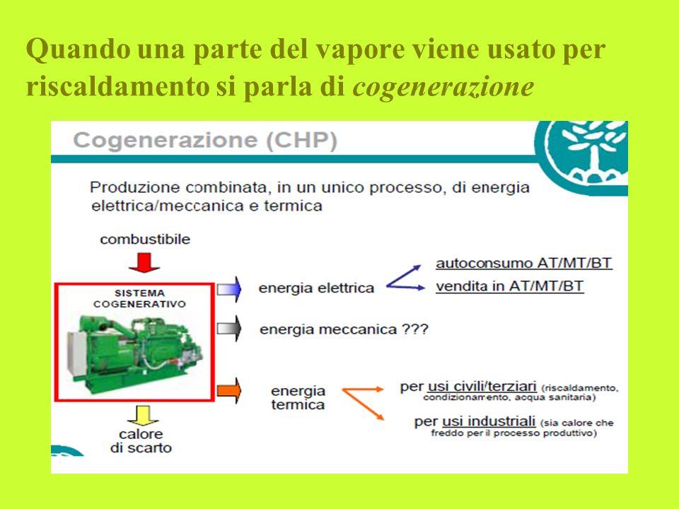 Quando una parte del vapore viene usato per riscaldamento si parla di cogenerazione