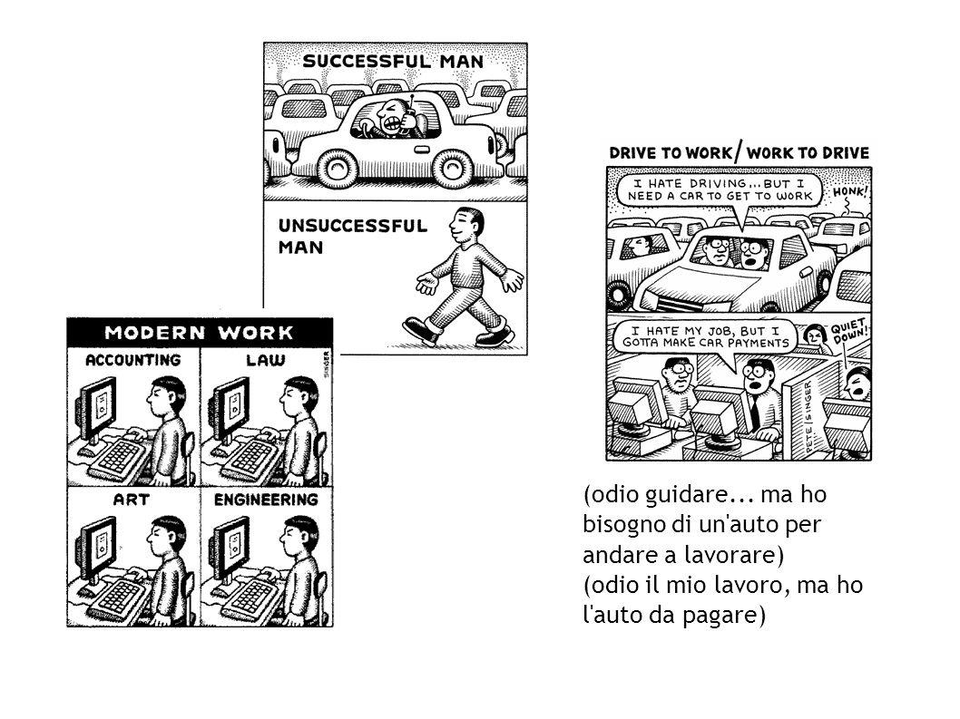 (odio guidare... ma ho bisogno di un'auto per andare a lavorare) (odio il mio lavoro, ma ho l'auto da pagare)
