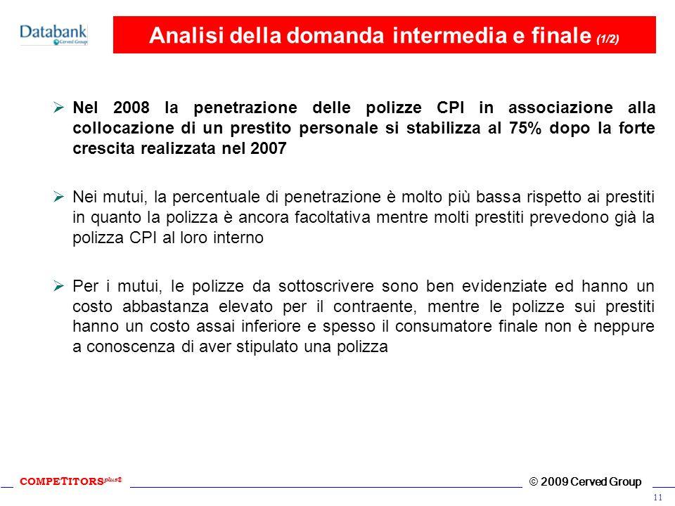 COMPE T ITORS plus ® © 2009 Cerved Group 11 Analisi della domanda intermedia e finale (1/2) Nel 2008 la penetrazione delle polizze CPI in associazione