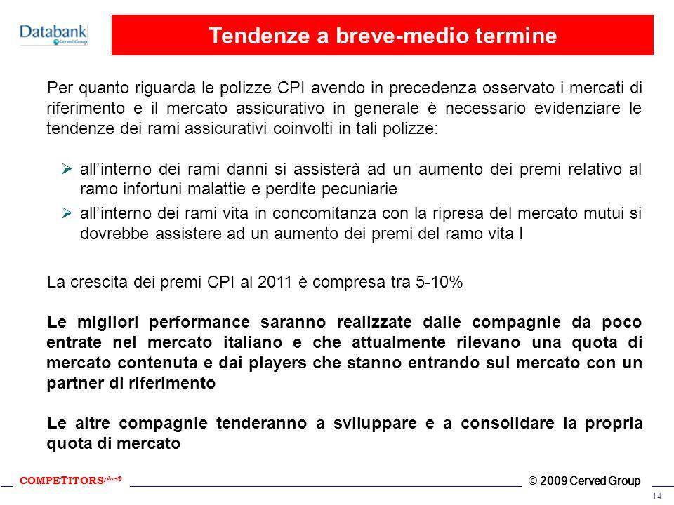 COMPE T ITORS plus ® © 2009 Cerved Group 14 Tendenze a breve-medio termine Per quanto riguarda le polizze CPI avendo in precedenza osservato i mercati