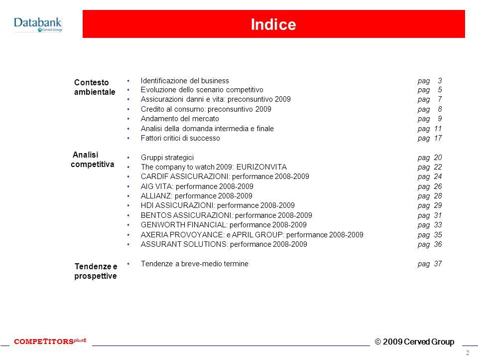 COMPE T ITORS plus ® © 2009 Cerved Group 2 Indice Identificazione del businesspag 3 Evoluzione dello scenario competitivo pag 5 Assicurazioni danni e