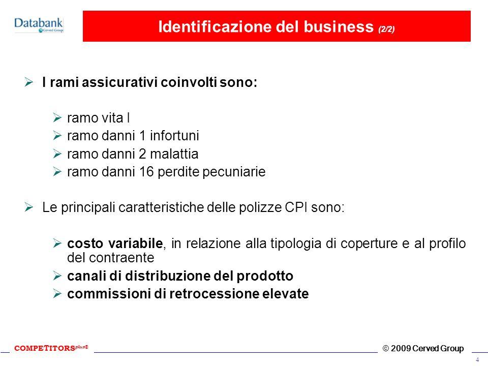 COMPE T ITORS plus ® © 2009 Cerved Group 4 Identificazione del business (2/2) I rami assicurativi coinvolti sono: ramo vita I ramo danni 1 infortuni r