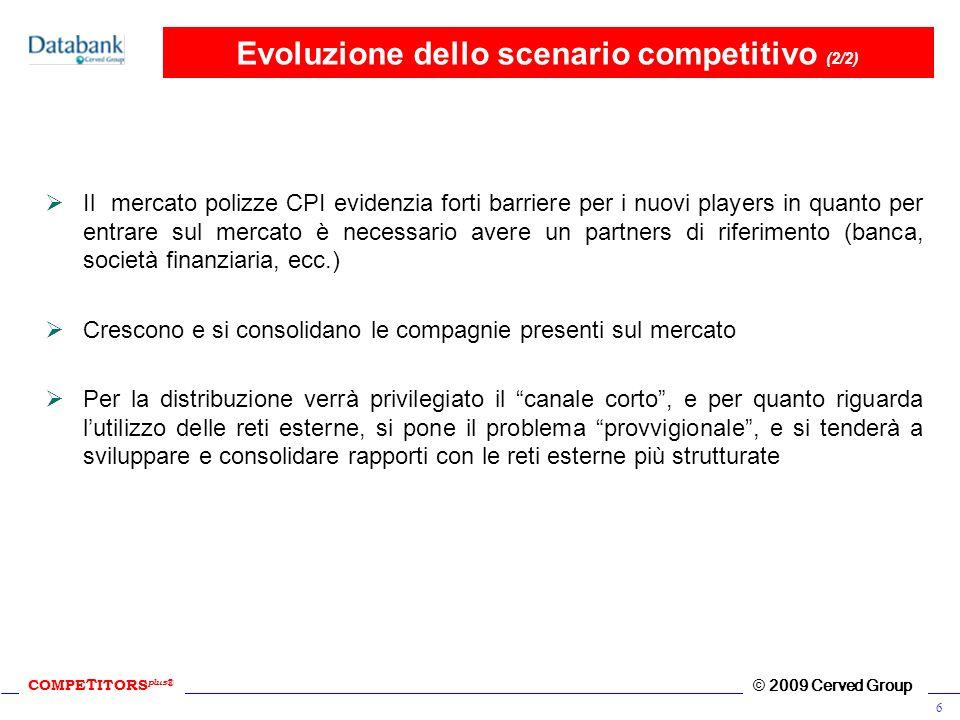 COMPE T ITORS plus ® © 2009 Cerved Group 6 Evoluzione dello scenario competitivo (2/2) Il mercato polizze CPI evidenzia forti barriere per i nuovi pla
