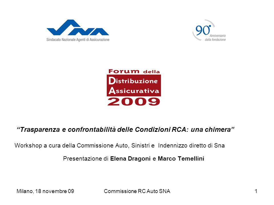 Milano, 18 novembre 09Commissione RC Auto SNA12