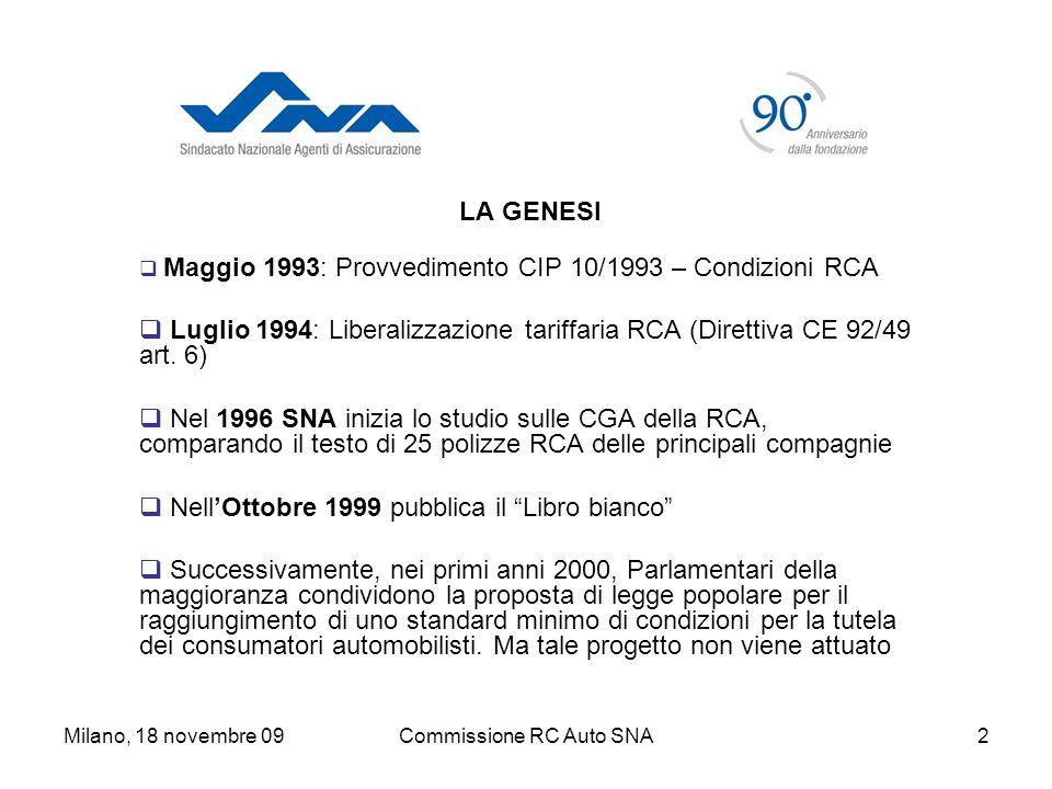 Milano, 18 novembre 09Commissione RC Auto SNA2 LA GENESI Maggio 1993: Provvedimento CIP 10/1993 – Condizioni RCA Luglio 1994: Liberalizzazione tariffaria RCA (Direttiva CE 92/49 art.