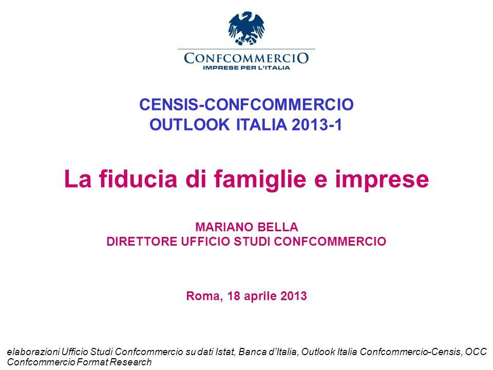 CENSIS-CONFCOMMERCIO OUTLOOK ITALIA 2013-1 La fiducia di famiglie e imprese MARIANO BELLA DIRETTORE UFFICIO STUDI CONFCOMMERCIO Roma, 18 aprile 2013 e