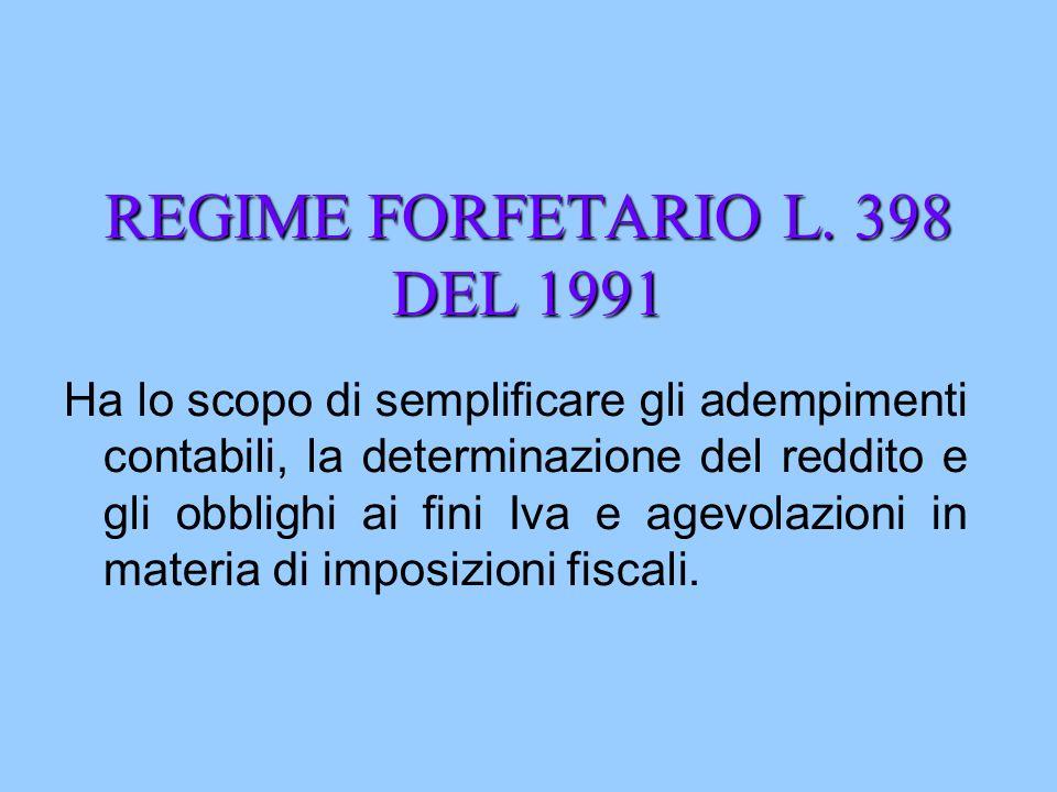 REGIME FORFETARIO L. 398 DEL 1991 Ha lo scopo di semplificare gli adempimenti contabili, la determinazione del reddito e gli obblighi ai fini Iva e ag