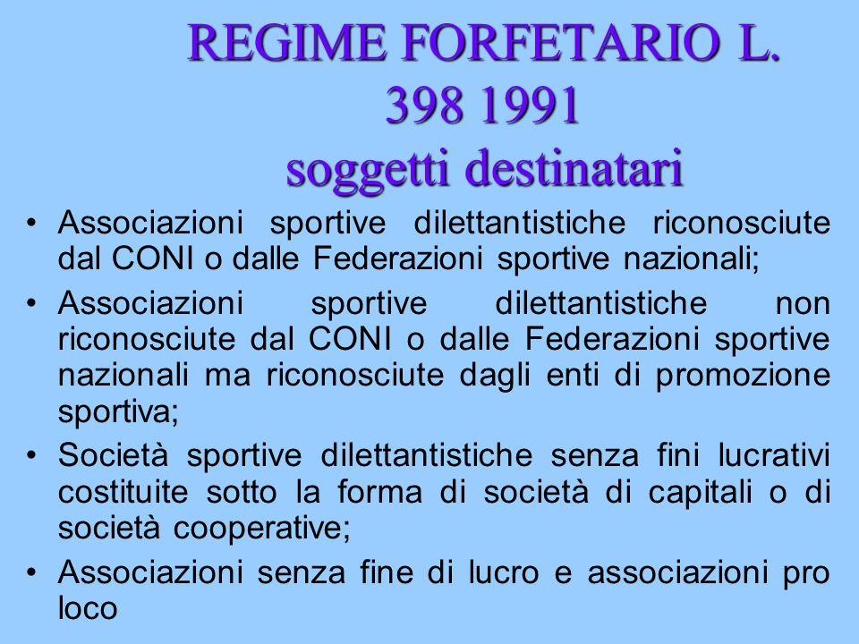REGIME FORFETARIO L. 398 1991 soggetti destinatari Associazioni sportive dilettantistiche riconosciute dal CONI o dalle Federazioni sportive nazionali