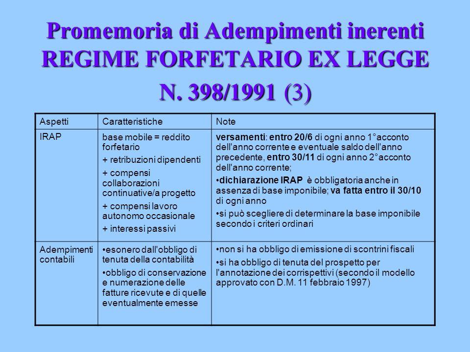 Promemoria di Adempimenti inerenti REGIME FORFETARIO EX LEGGE N. 398/1991 (3) AspettiCaratteristicheNote IRAPbase mobile = reddito forfetario + retrib