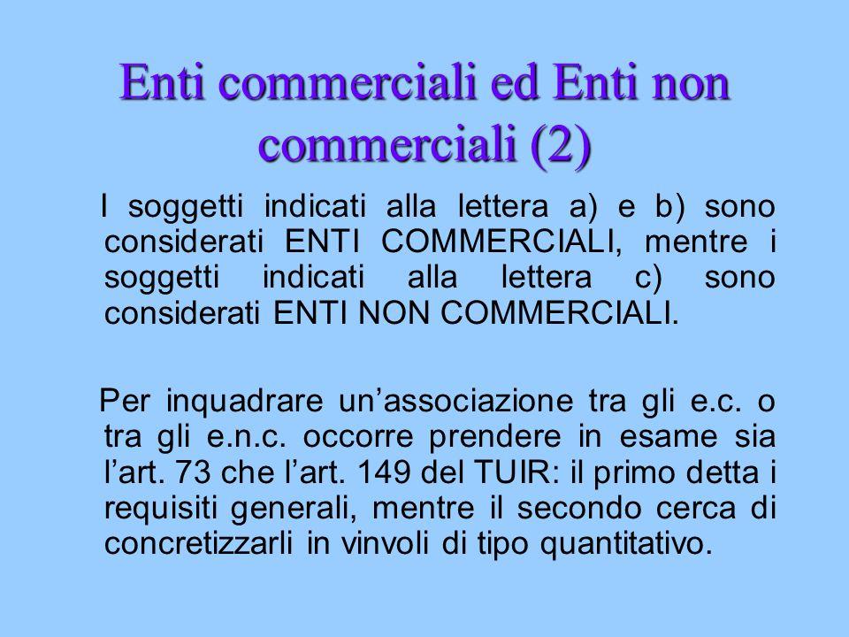 Enti commerciali ed Enti non commerciali (2) I soggetti indicati alla lettera a) e b) sono considerati ENTI COMMERCIALI, mentre i soggetti indicati al