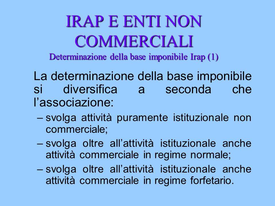IRAP E ENTI NON COMMERCIALI Determinazione della base imponibile Irap (1) La determinazione della base imponibile si diversifica a seconda che lassoci