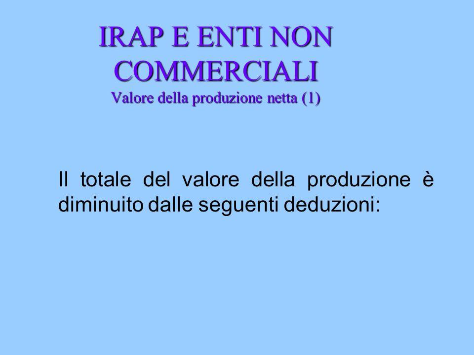 IRAP E ENTI NON COMMERCIALI Valore della produzione netta (1) Il totale del valore della produzione è diminuito dalle seguenti deduzioni: