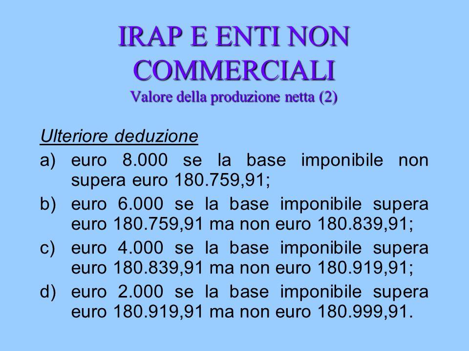 IRAP E ENTI NON COMMERCIALI Valore della produzione netta (2) Ulteriore deduzione a)euro 8.000 se la base imponibile non supera euro 180.759,91; b)eur