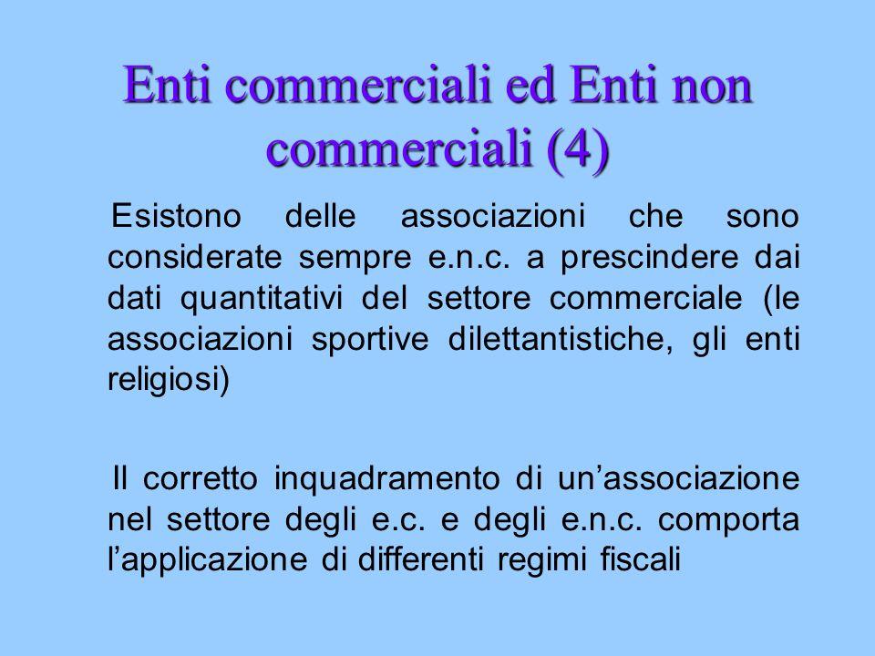Enti commerciali ed Enti non commerciali (4) Esistono delle associazioni che sono considerate sempre e.n.c. a prescindere dai dati quantitativi del se