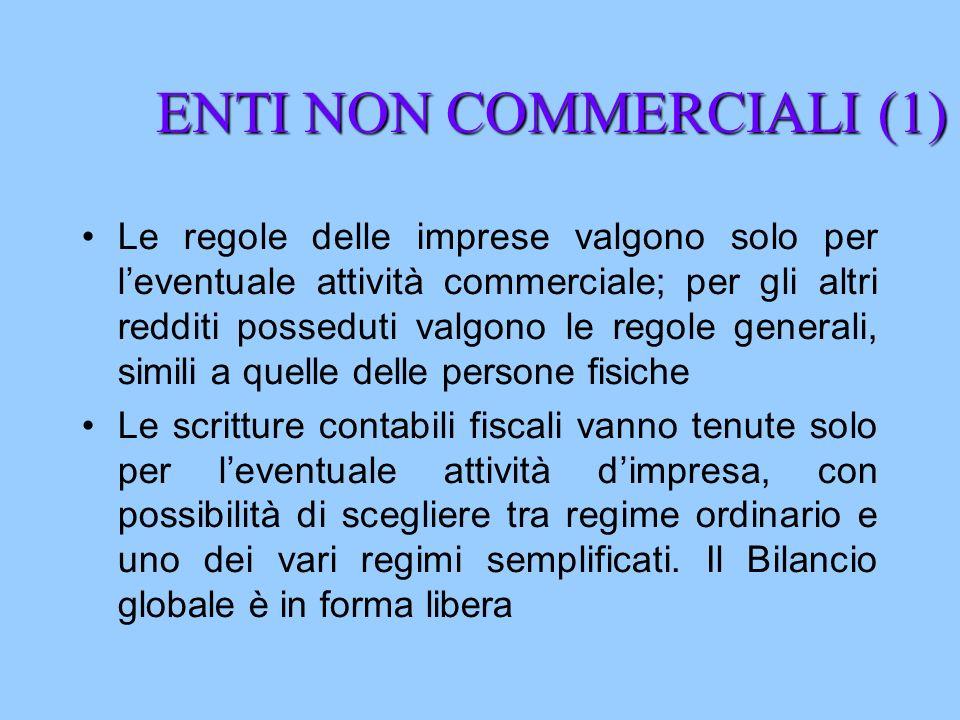 ENTI NON COMMERCIALI (1) Le regole delle imprese valgono solo per leventuale attività commerciale; per gli altri redditi posseduti valgono le regole g