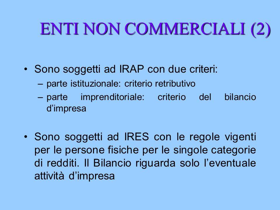 ENTI NON COMMERCIALI (2) Sono soggetti ad IRAP con due criteri: –parte istituzionale: criterio retributivo –parte imprenditoriale: criterio del bilanc