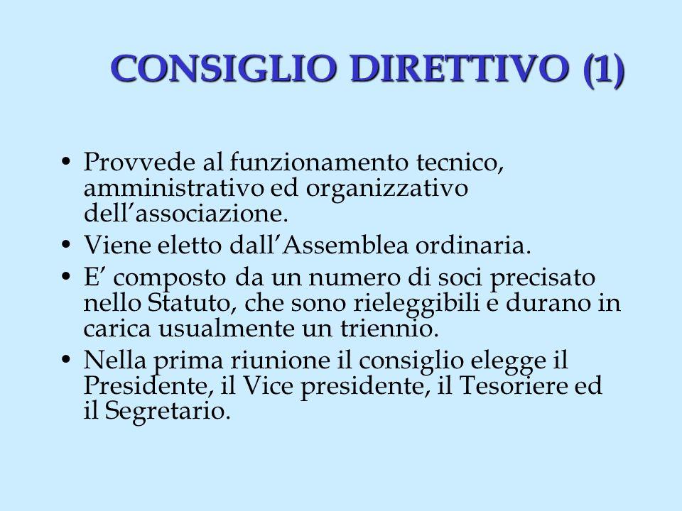 CONSIGLIO DIRETTIVO (1) Provvede al funzionamento tecnico, amministrativo ed organizzativo dellassociazione.