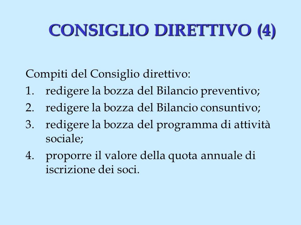 CONSIGLIO DIRETTIVO (4) Compiti del Consiglio direttivo: 1.redigere la bozza del Bilancio preventivo; 2.redigere la bozza del Bilancio consuntivo; 3.redigere la bozza del programma di attività sociale; 4.proporre il valore della quota annuale di iscrizione dei soci.