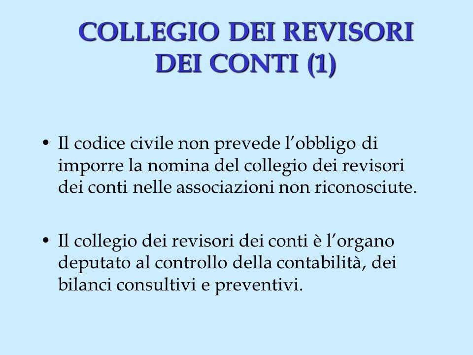 COLLEGIO DEI REVISORI DEI CONTI (1) Il codice civile non prevede lobbligo di imporre la nomina del collegio dei revisori dei conti nelle associazioni non riconosciute.