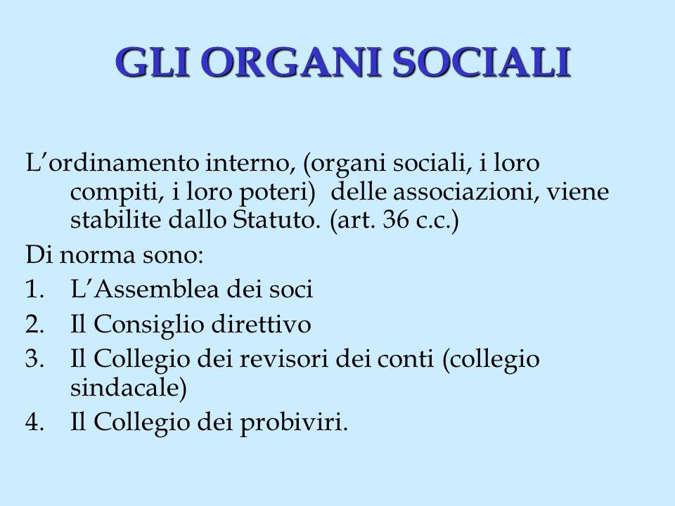 LASSEMBLEA DEI SOCI (1) Lassemblea dei soci è il massimo organo deliberativo dellassociazione poiché rappresenta luniversalità dei soci.