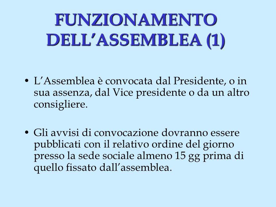 FUNZIONAMENTO DELLASSEMBLEA (1) LAssemblea è convocata dal Presidente, o in sua assenza, dal Vice presidente o da un altro consigliere.
