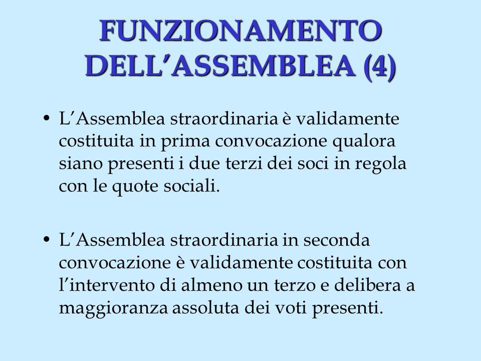 FUNZIONAMENTO DELLASSEMBLEA (5) Il Presidente dellassemblea nomina un segretario.