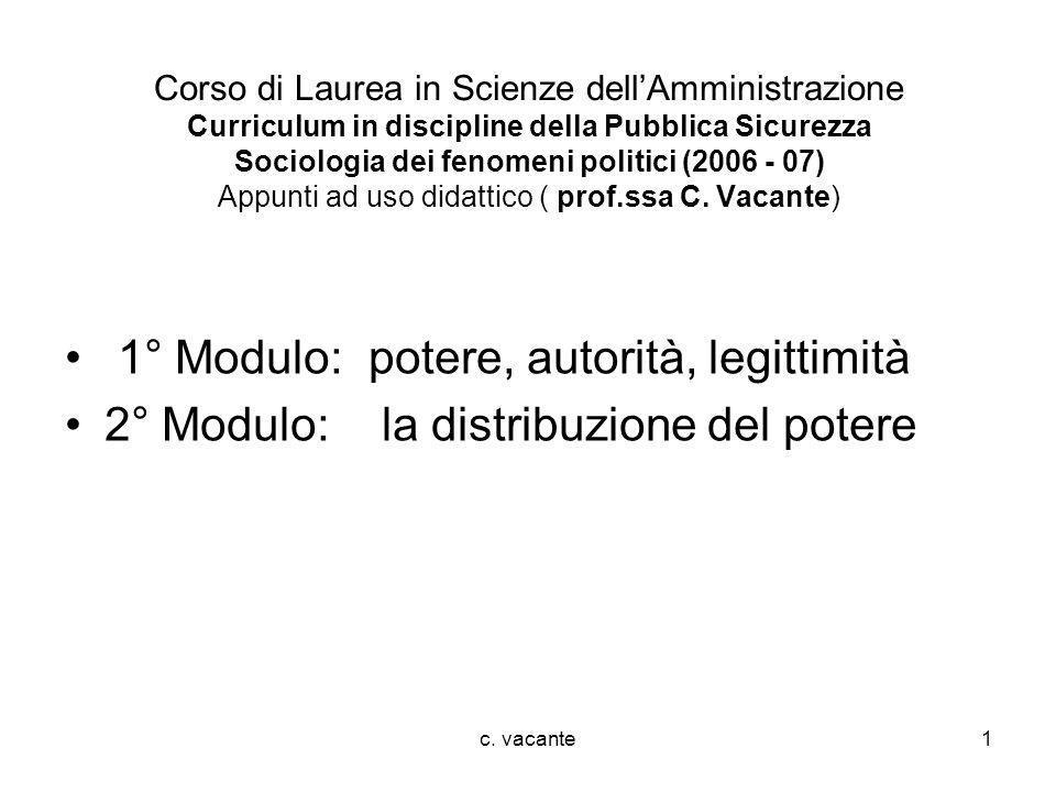 c. vacante1 Corso di Laurea in Scienze dellAmministrazione Curriculum in discipline della Pubblica Sicurezza Sociologia dei fenomeni politici (2006 -