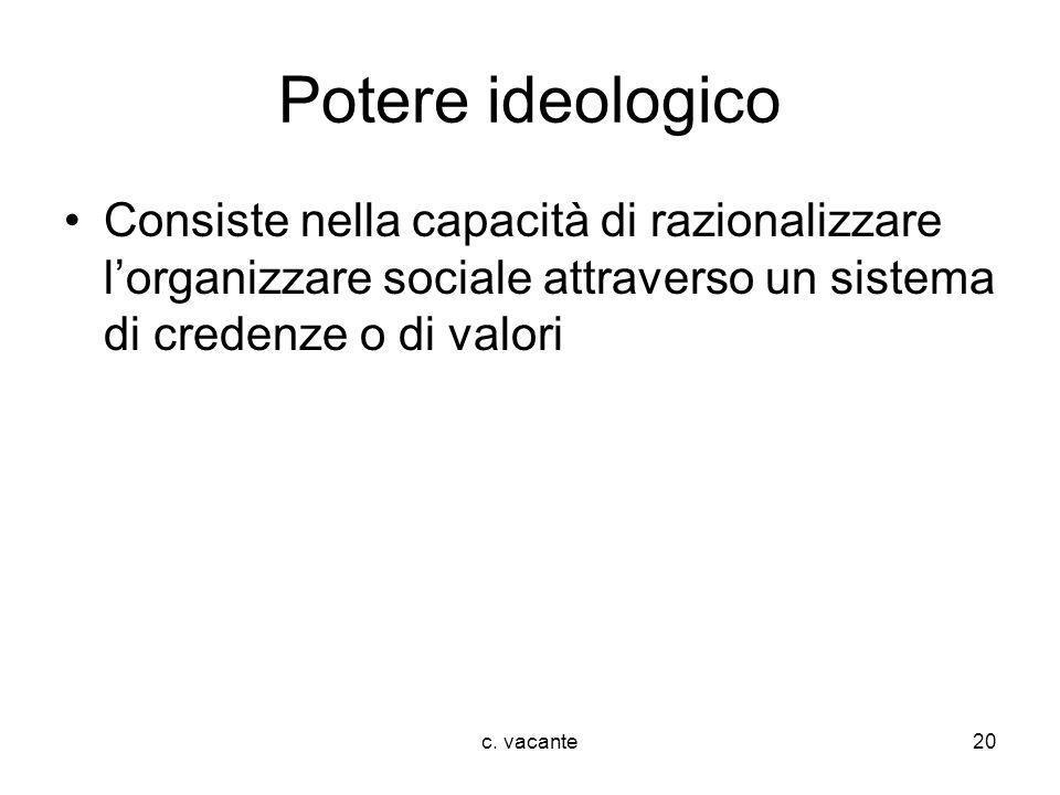 c. vacante20 Potere ideologico Consiste nella capacità di razionalizzare lorganizzare sociale attraverso un sistema di credenze o di valori