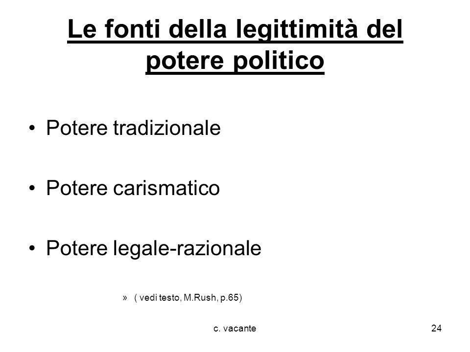 c. vacante24 Le fonti della legittimità del potere politico Potere tradizionale Potere carismatico Potere legale-razionale »( vedi testo, M.Rush, p.65