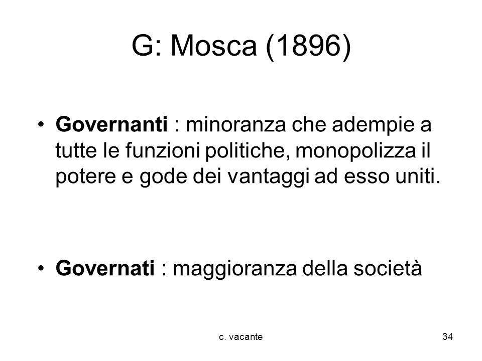 c. vacante34 G: Mosca (1896) Governanti : minoranza che adempie a tutte le funzioni politiche, monopolizza il potere e gode dei vantaggi ad esso uniti