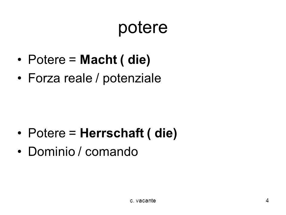 c. vacante4 potere Potere = Macht ( die) Forza reale / potenziale Potere = Herrschaft ( die) Dominio / comando