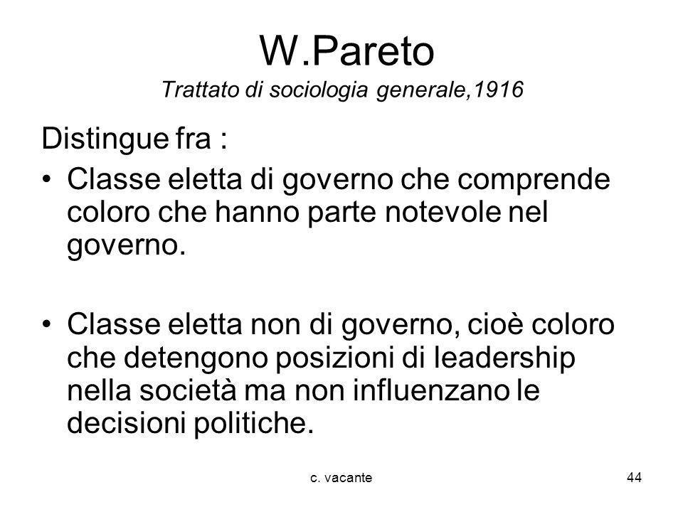 c. vacante44 W.Pareto Trattato di sociologia generale,1916 Distingue fra : Classe eletta di governo che comprende coloro che hanno parte notevole nel
