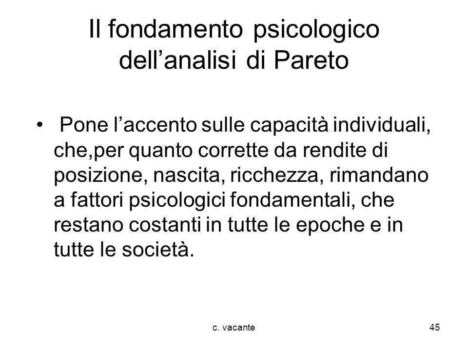 c. vacante45 Il fondamento psicologico dellanalisi di Pareto Pone laccento sulle capacità individuali, che,per quanto corrette da rendite di posizione