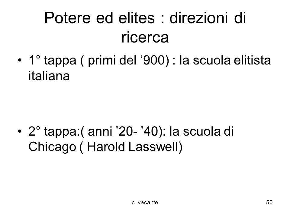 c. vacante50 Potere ed elites : direzioni di ricerca 1° tappa ( primi del 900) : la scuola elitista italiana 2° tappa:( anni 20- 40): la scuola di Chi