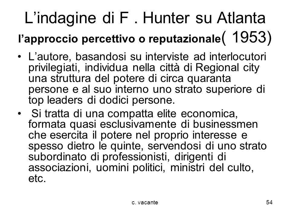 c. vacante54 Lindagine di F. Hunter su Atlanta lapproccio percettivo o reputazionale ( 1953) Lautore, basandosi su interviste ad interlocutori privile