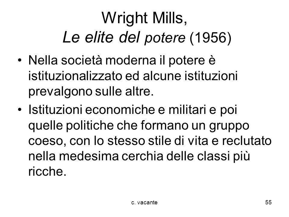 c. vacante55 Wright Mills, Le elite del potere (1956) Nella società moderna il potere è istituzionalizzato ed alcune istituzioni prevalgono sulle altr