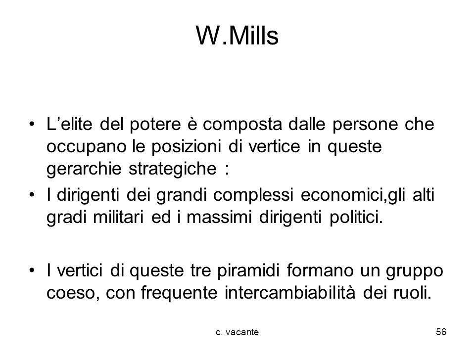 c. vacante56 W.Mills Lelite del potere è composta dalle persone che occupano le posizioni di vertice in queste gerarchie strategiche : I dirigenti dei