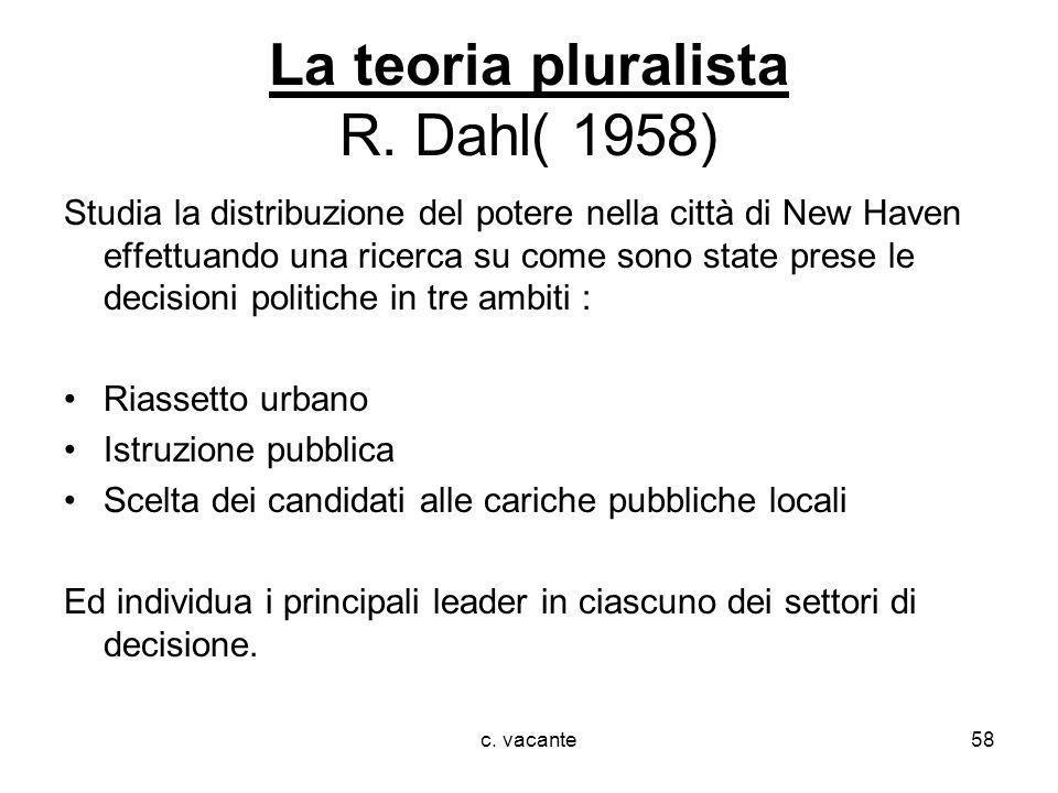 c. vacante58 La teoria pluralista R. Dahl( 1958) Studia la distribuzione del potere nella città di New Haven effettuando una ricerca su come sono stat