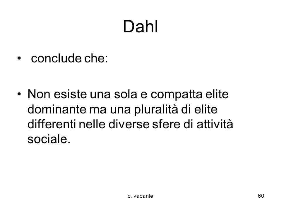 c. vacante60 Dahl conclude che: Non esiste una sola e compatta elite dominante ma una pluralità di elite differenti nelle diverse sfere di attività so