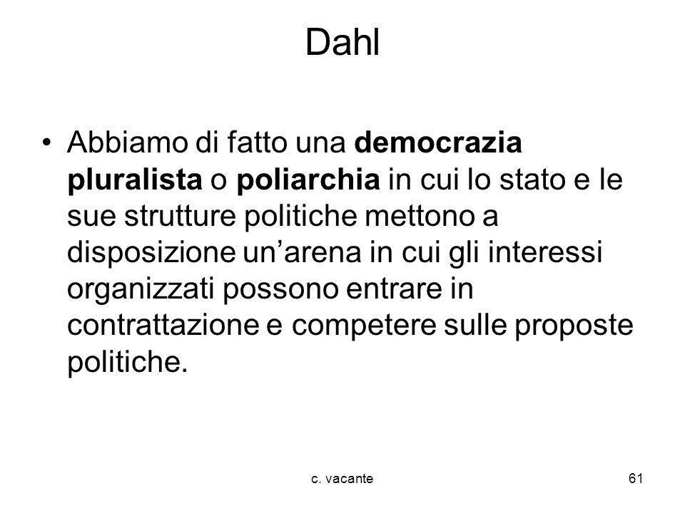 c. vacante61 Dahl Abbiamo di fatto una democrazia pluralista o poliarchia in cui lo stato e le sue strutture politiche mettono a disposizione unarena