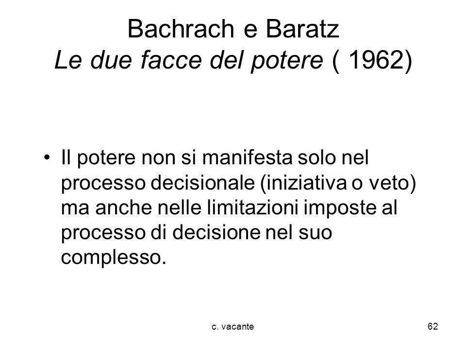 c. vacante62 Bachrach e Baratz Le due facce del potere ( 1962) Il potere non si manifesta solo nel processo decisionale (iniziativa o veto) ma anche n