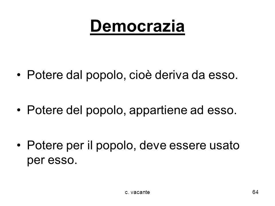 c. vacante64 Democrazia Potere dal popolo, cioè deriva da esso. Potere del popolo, appartiene ad esso. Potere per il popolo, deve essere usato per ess